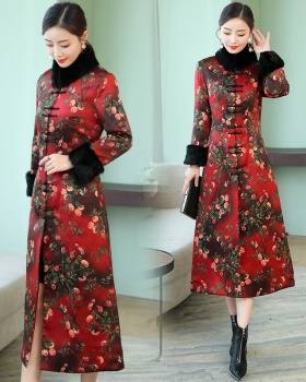 Long sleeve long Chinese style overcoat red thick dress