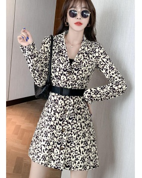 Sexy fashion dress leopard long sleeve business suit