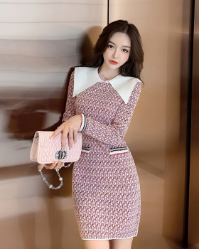 Long high elastic knitted sweater long sleeve ladies dress