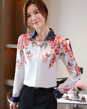Silk real silk tops printing long sleeve shirt for women