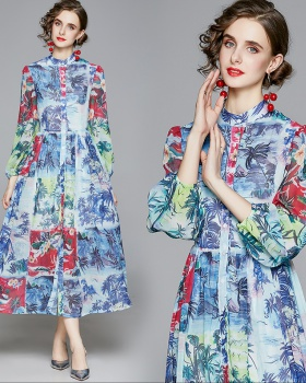 Puff sleeve cstand collar France style printing dress