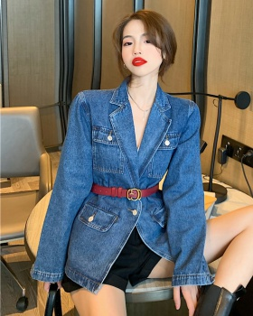 All-match with belt shirt retro denim coat for women