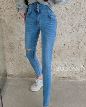 Breasted jeans autumn long pants for women