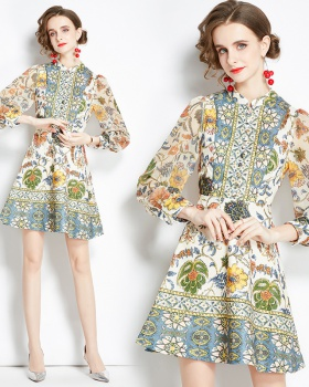 Autumn retro pinched waist Bohemian style printing dress