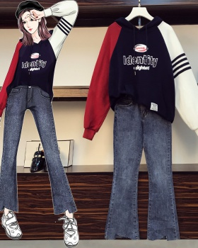 Korean style mixed colors large yard jeans slim fat hoodie