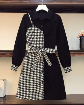 Slim plaid fat autumn and winter Korean style dress