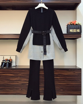 Large yard autumn and winter tops splice Korean style pants a set
