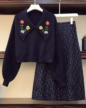 Fat embroidery collar skirt floral sweater 2pcs set