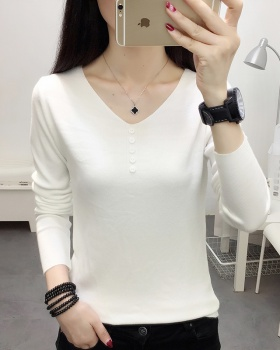 Knitted bottoming shirt V-neck sweater for women