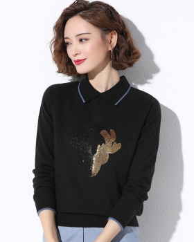 Autumn and winter knitted tops autumn sweater for women
