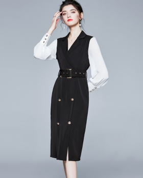 Double-breasted frenum business suit splice dress