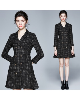 Retro plaid coat double-breasted dress