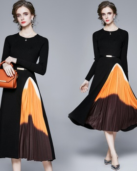 Elegant knitted autumn and winter slim dress for women