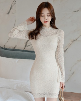 Temperament slim lace package hip cstand collar dress