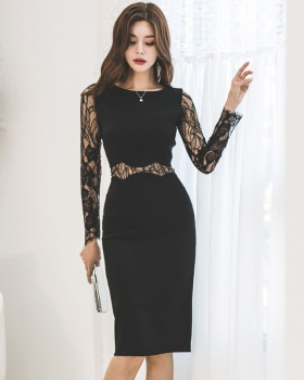 Bottoming temperament fashion package hip lace dress