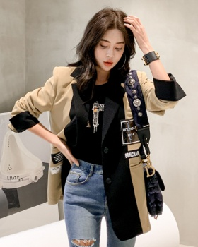 Long Casual fashion business suit loose splice coat