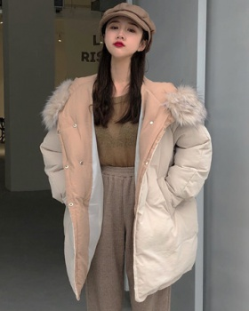 Winter hooded large fur collar cotton coat thick loose coat