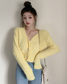 Short V-neck plush autumn and winter sweater