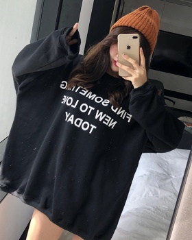 Plus velvet hip-hop thick letters hoodie for women