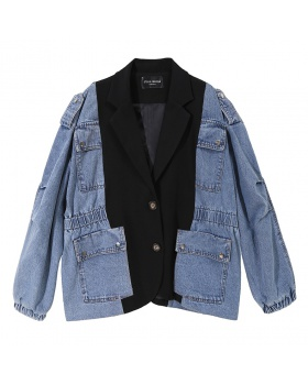 Autumn loose jacket denim European style coat for women