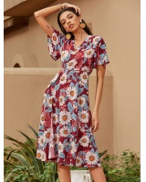 Printing temperament European style dress for women