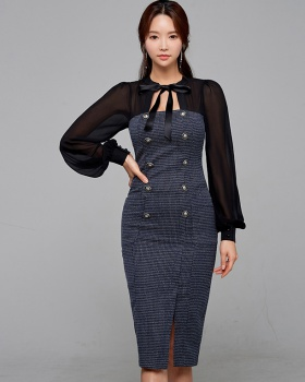 Chiffon package hip splice bow slim temperament dress