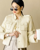 Wool small white coat coarse flower autumn weave jacket