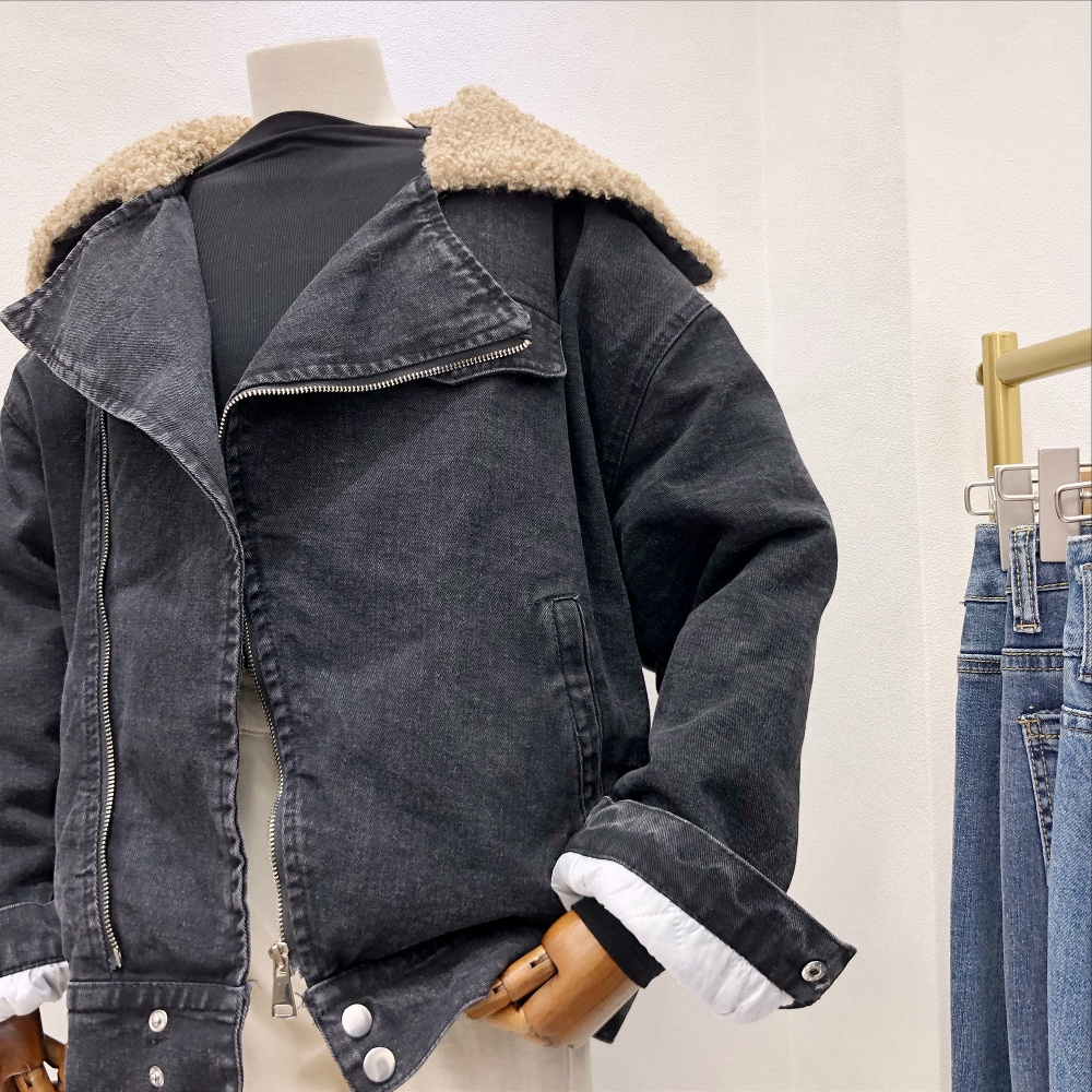 Lambs wool slim denim coat loose fur collar jacket for women