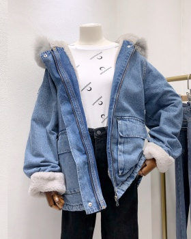 Fur collar denim short cotton coat loose plus velvet coat