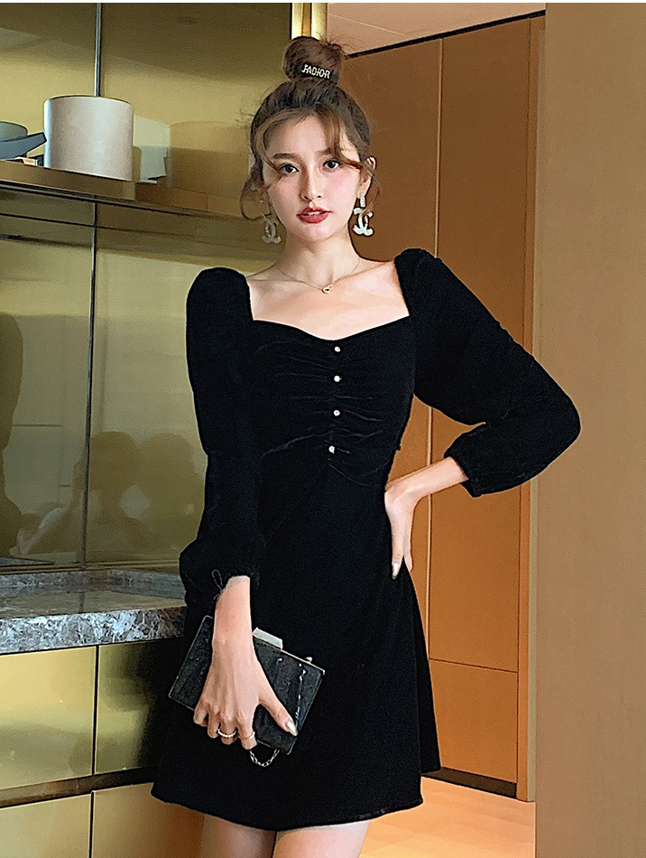 Sexy autumn velvet slim retro square collar dress