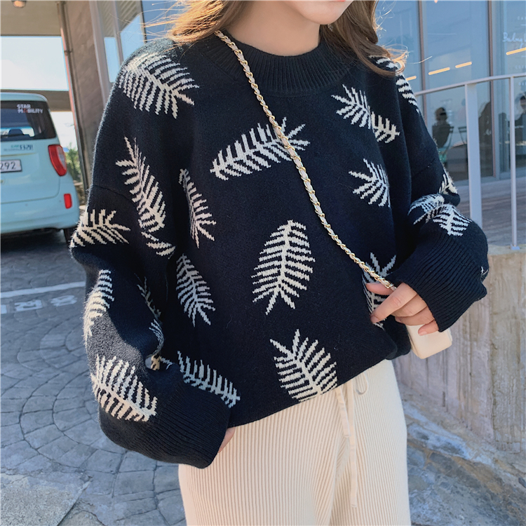 Jacquard Korean style sweater lazy retro tops