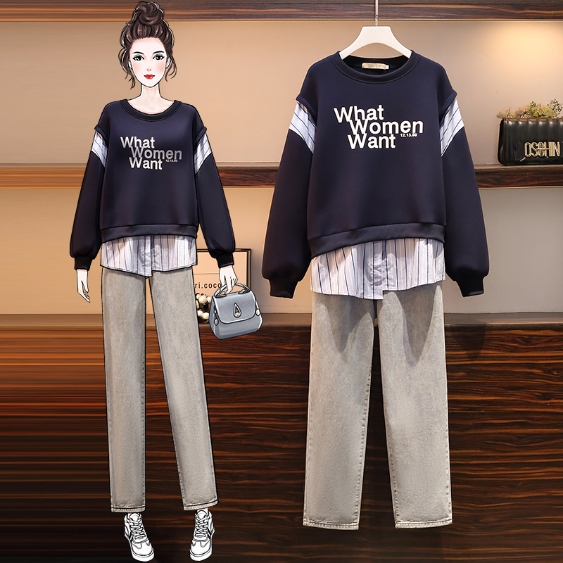 Autumn and winter tops slim jeans 2pcs set for women