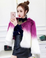 Mixed colors winter sweater Western style faux fur jacket