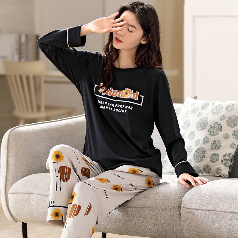 Student Korean style homewear round neck pajamas