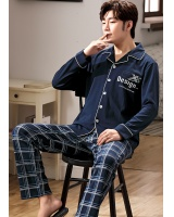 Korean style cardigan lapel pajamas 2pcs set for men