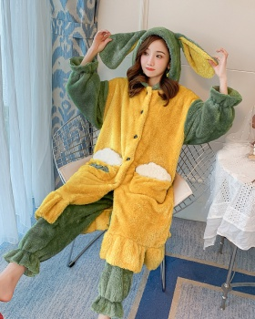Long hair flannel thermal at home thick nightgown a set for women