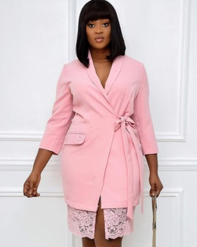 Pink business suit short sleeve coat for women