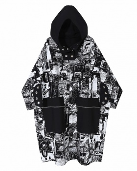 Japanese style cartoon autumn black-white hooded dress