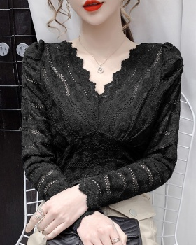 Lace bottoming shirt pinched waist tops