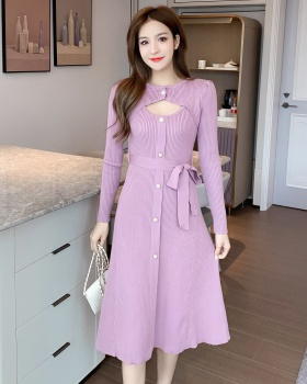 Long long sleeve lady temperament frenum dress