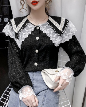 Autumn doll collar all-match shirt lady lace tops