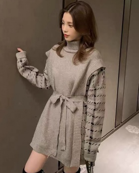 Winter long dress Pseudo-two high collar sweater for women