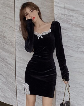 Long sleeve sexy lace slim bottoming splice dress