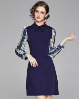 Long sleeve lapel autumn dress