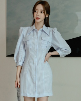 Stripe autumn and winter dress Korean style shirt