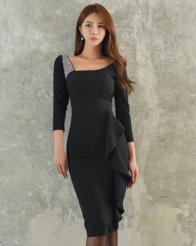 Korean style package hip splice autumn dress