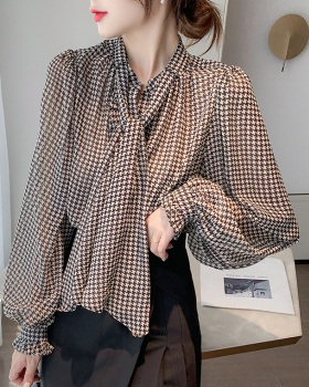 Frenum houndstooth shirt autumn and winter loose tops