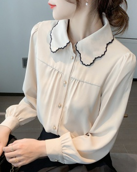 Pure autumn tops doll collar long sleeve shirt for women