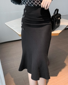Mermaid black skirt slim autumn and winter sweater for women