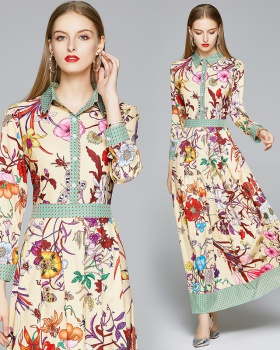 Printing slim all-match pinched waist fashion dress